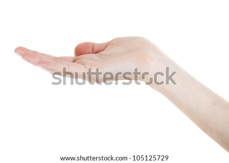 Empty open hand isolated on white background