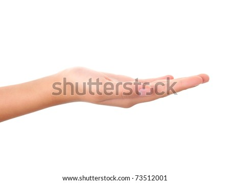 Empty open hand isolated on white background - stock photo