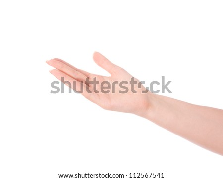 Empty open male hand on white background - stock photo