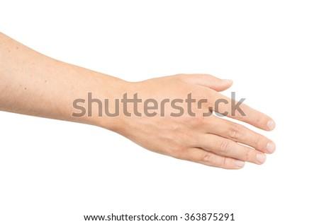 Empty open man hand on white background - stock photo