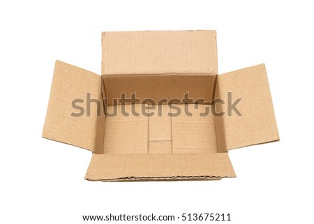Empty open paper box, cardboard paper box on isolated white background.