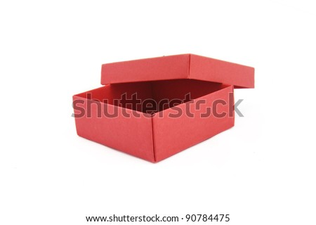 Empty open red box isolated on white background