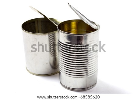 Empty open tin can without label isolated on white.