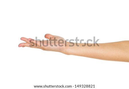 Empty open woman hand on white - stock photo