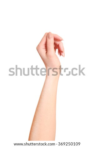 Empty open woman hand on white background. - stock photo