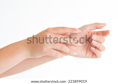 Empty open woman hands on white background