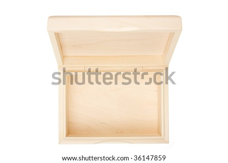 Empty open wooden box isolated on white - stock photo