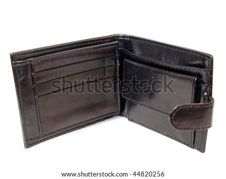Empty opened black wallet from imitation leather
