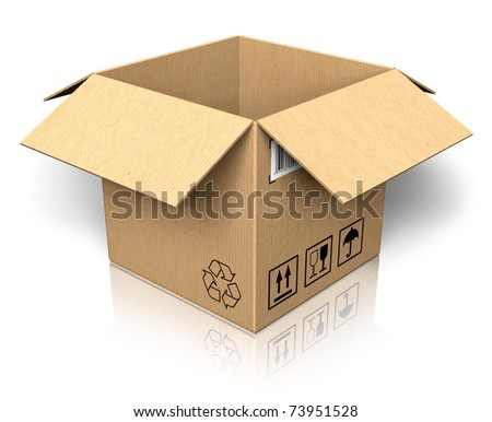 Empty opened cardboard box
