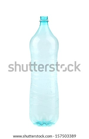 Empty opened plastic bottle. Isolated on a white background. - stock photo