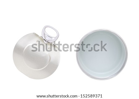 Empty opened steel can, isolated on white - stock photo