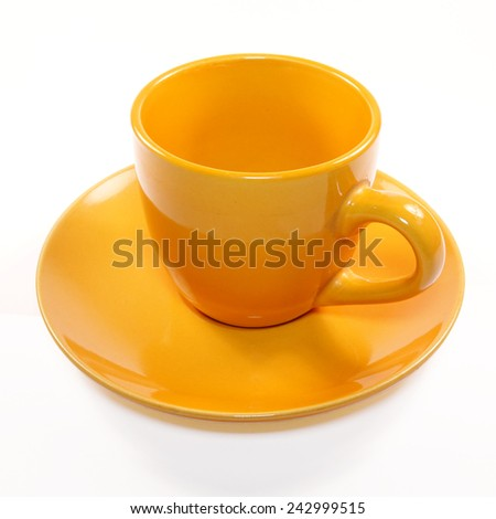 Empty Orange Cup on white background   - stock photo