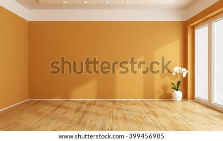 Empty orange room with wooden floor -3D Rendering - stock photo