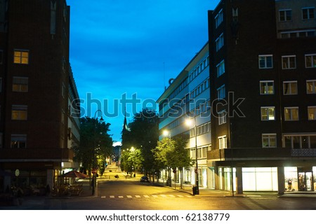 Empty Oslo street in the city center at night. Norway - stock photo
