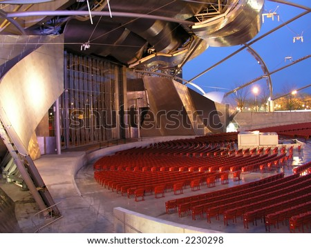 Empty outdoor auditorium at dusk - stock photo