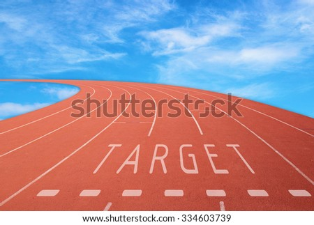 empty outdoor running track with sign target with blue sky background