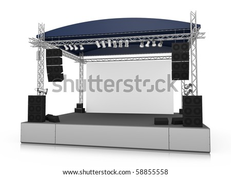 Empty outdoor stage with blank screen. 3D rendered illustration. - stock photo