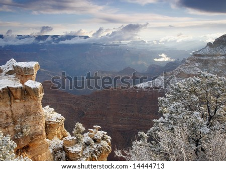 Empty Overlook At The Grand Canyon - stock photo