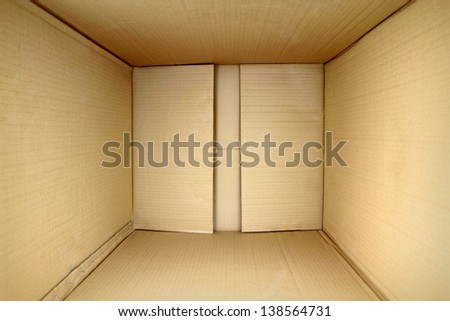Empty package box, 3d view inner side. - stock photo