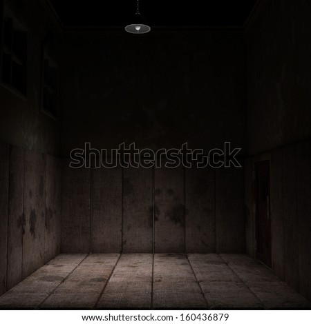 Empty Padded Room - An empty dark and dirty padded room with an eerie feel. Two high windows and a locked door. - stock photo
