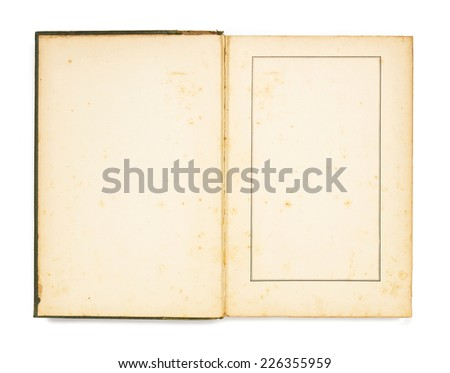 Empty page of vintage book with space for advertising isolated on white background. - stock photo
