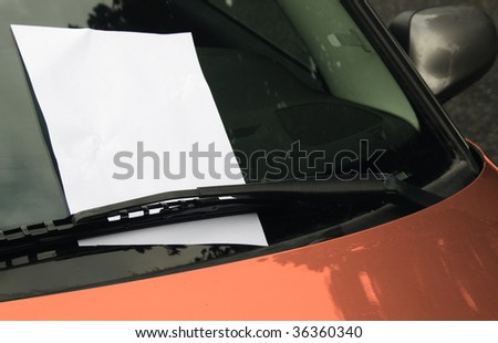 Empty page  with copy space on car windscreen - stock photo