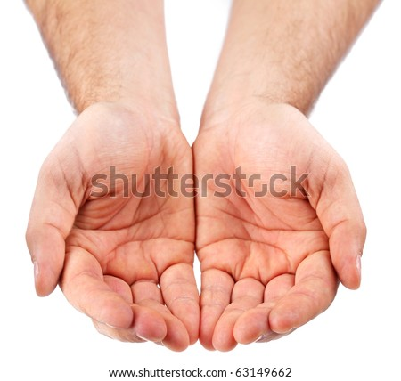 Empty palms up isolated on a white background. - stock photo