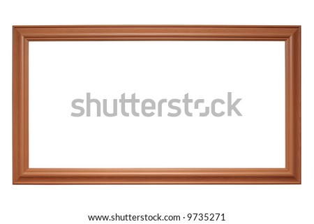 Empty panoramic picture frame isolated on white - stock photo
