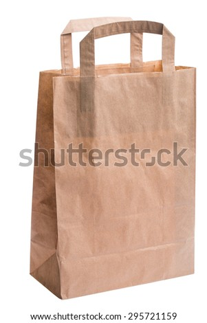 empty paper bag from the store is isolated on a white background in macro lens shot - stock photo