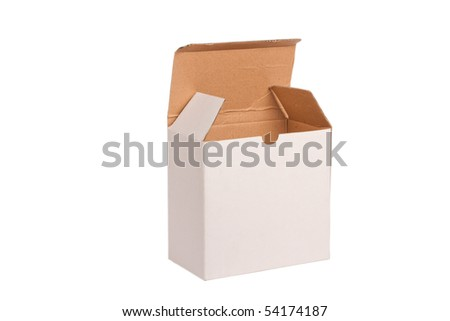 Empty paper box on white background
