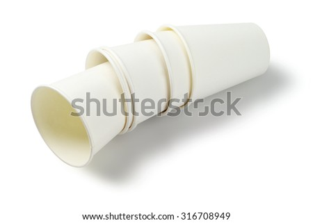 Empty Paper Cups Lying on White Background - stock photo