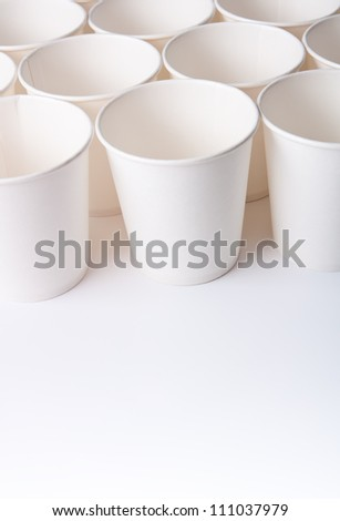Empty paper cups with copy space - stock photo