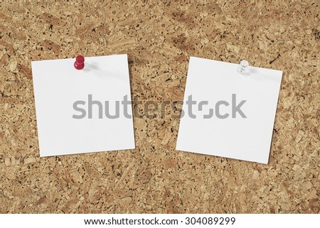 empty paper notes pinned on a cork background - stock photo