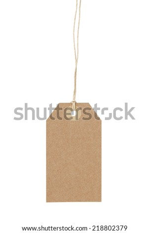 empty paper tag for sale or luggage, isolated on white - stock photo