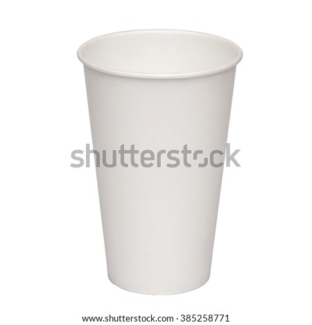 Empty paper takeaway cup on white background including clipping path  - stock photo