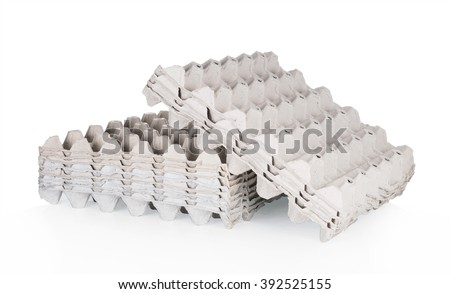 Empty Paper tray of eggs isolated on white background. - stock photo