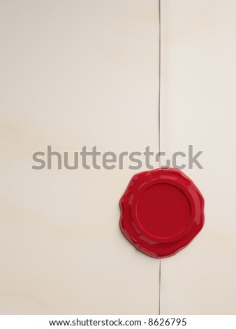 Empty parchment with wax-seal - stock photo