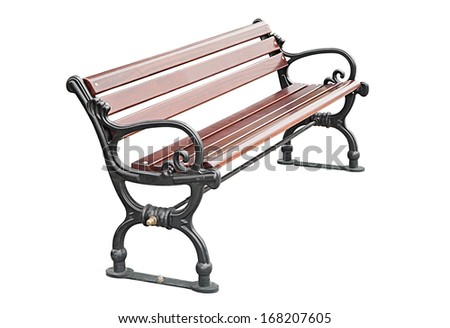 Empty park bench isolated over white background - stock photo