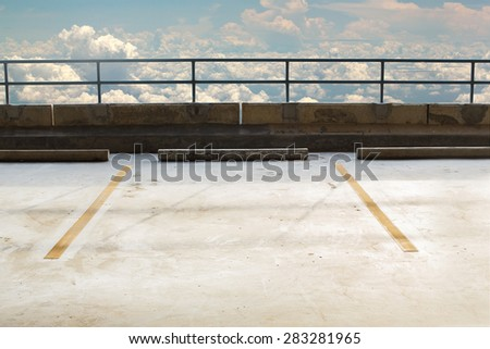 Empty parking area with cloud. - stock photo