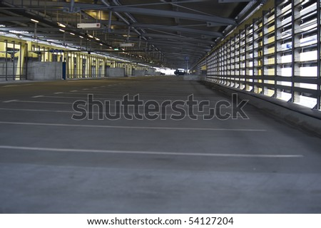 Empty parking garage at airport