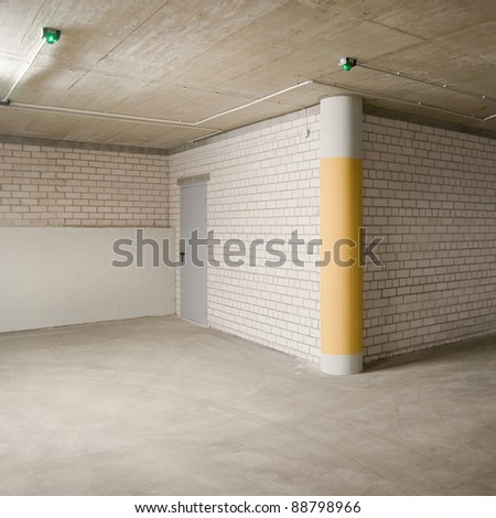 Empty parking, garage lot area. - stock photo