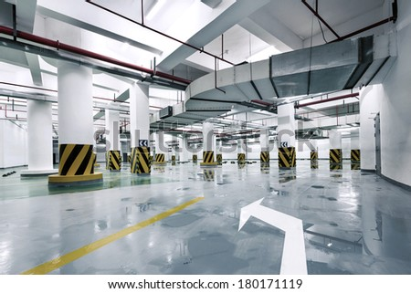 Empty parking lot area  - stock photo