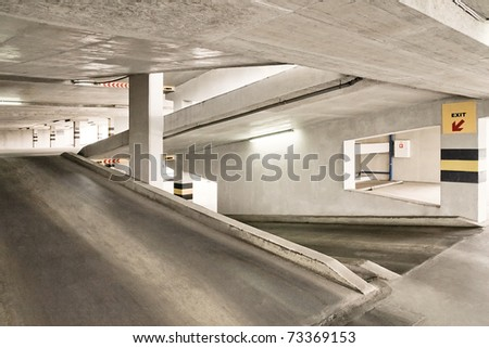 Empty parking lot area. - stock photo
