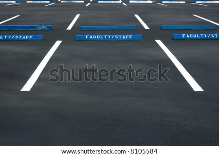 Empty parking lot - freshly painted surface - stock photo