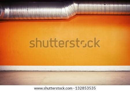 Empty parking lot wall. - stock photo