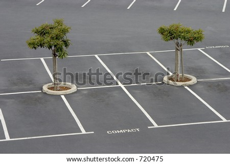 Empty parking spaces await commuters.