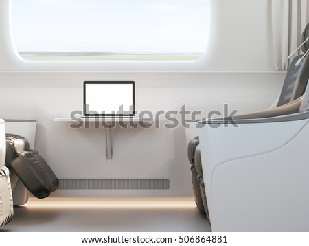 Empty passenger train or bus interior with grey seats. Side view, 3D Rendering