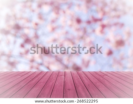 Empty perspective red wood over blurred, blooming trees with bokeh background, for product display montage - stock photo