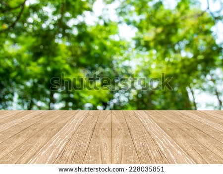 Empty perspective room with blurred green tree forest and wooden plank floor,Template mock up for display of your product - stock photo