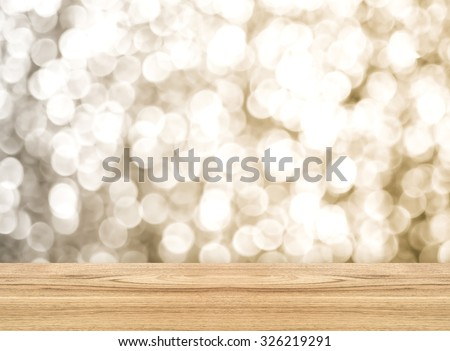Empty perspective room with sparkling bokeh wall and wooden floor,Template mock up for display of your product. - stock photo